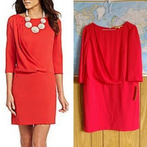 NWT Gianni Bini Cherry Red Ella Faux Wrap Dress 6